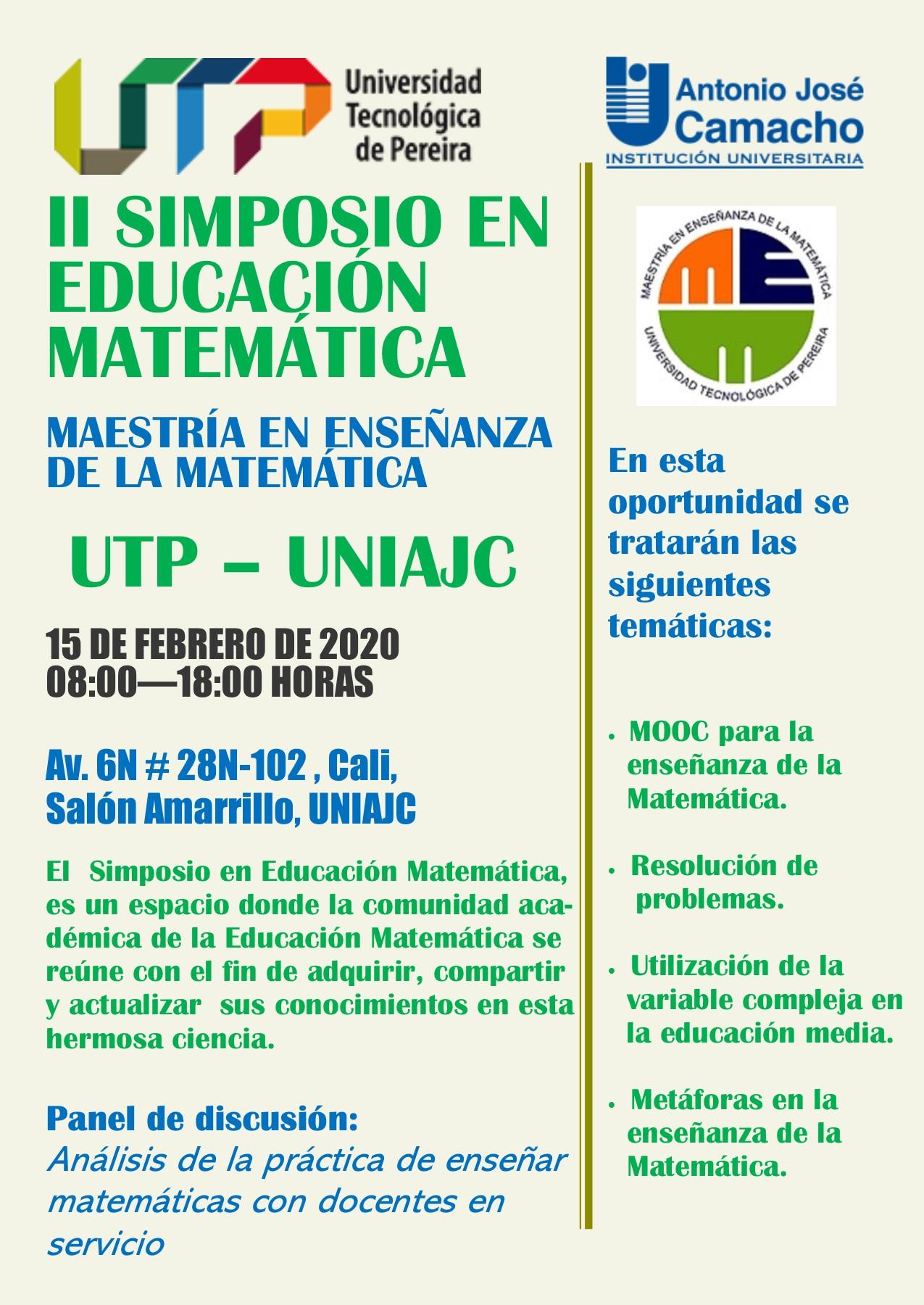 Segundo simposio en Educación Matemática