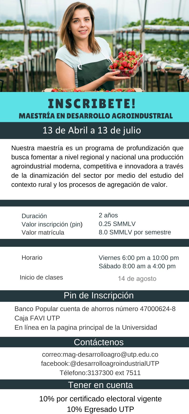 Inscripciones abiertas Maestría en Desarollo Agroindustrial