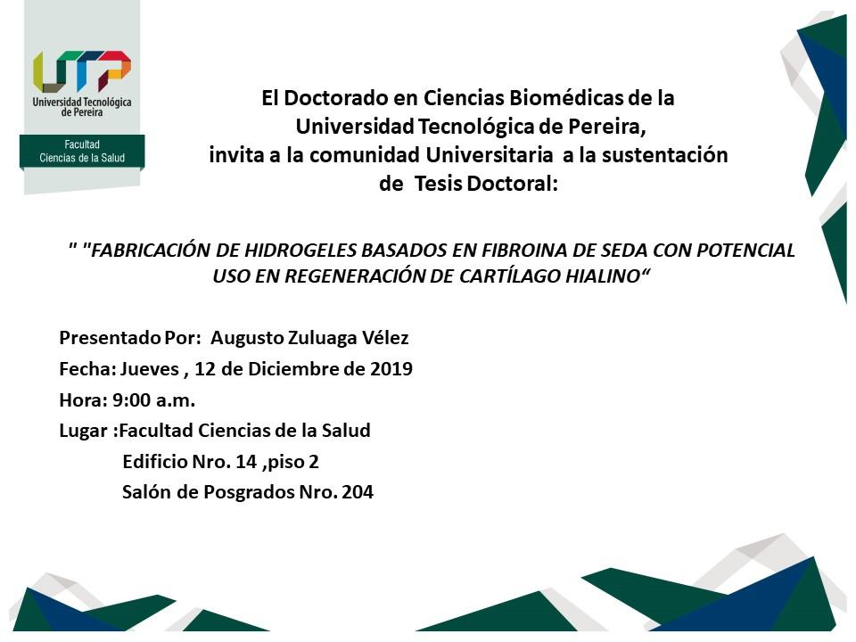 Doctorado en Ciencias Biomédicas invita a sustentaciones de tesis doctoral