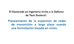 Invitación defensa tesis Doctorado en Ingeniería