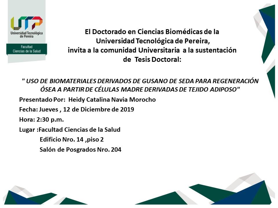 Sustentación tesis doctoral - Doctorado en Ciencias Biomédicas