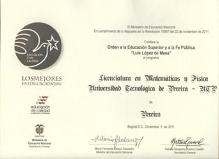 Reconocimiento Mineducación a Licenciatura Matemáticas y Física