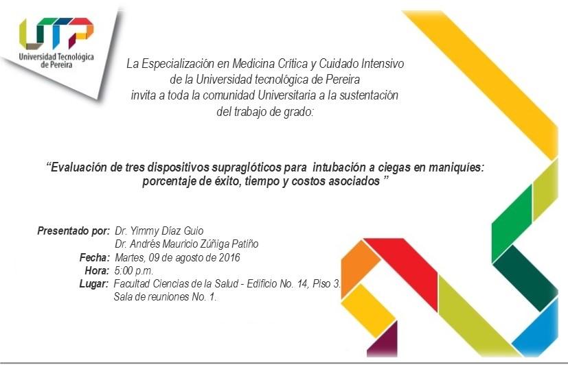 Invitación Sustentación Tesis Especialización En Medicina