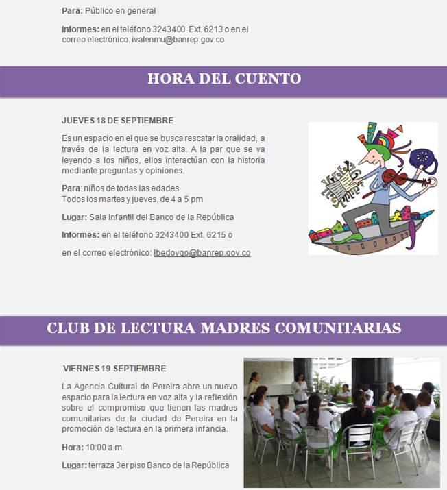 Programación Cultural BanRepública / Septiembre 15 al 20